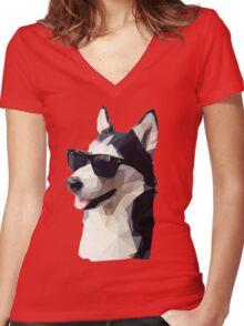 Dog chilling Women's Fitted V-Neck T-Shirt