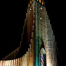 Reykjavik Church At Night by Jasna