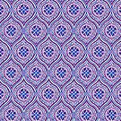 Purple, Blue, White Traditional Ogee Pattern by Judy Adamson