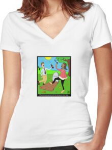 Caillou Death Party Women's Fitted V-Neck T-Shirt