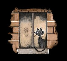Black Cat in the window by jazzydevil