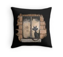 Black Cat in the window Throw Pillow