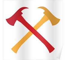 Fireman axes crossed Poster