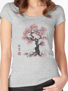 Forest Spirits Sumi-e Women's Fitted Scoop T-Shirt