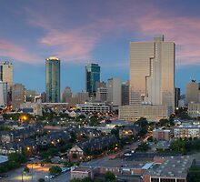 Texas Images - Fort Worth Skyline in Summer 2 by RobGreebonPhoto
