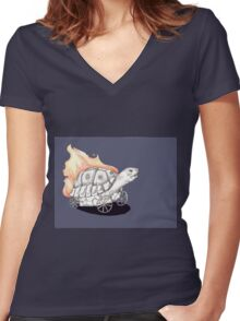 Tortoise on a Mission Women's Fitted V-Neck T-Shirt