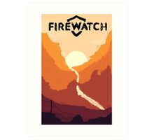 Firewatch horizion with logo Art Print