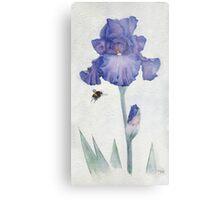 Blue Iris with Bee Metal Print