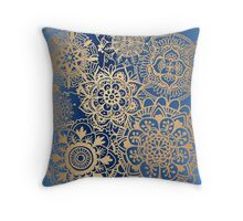 Blue and Gold Mandala Pattern Throw Pillow