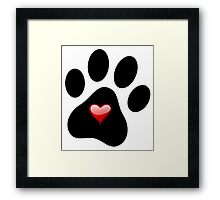 Dog Lover Paw Print with Heart Shirt Stickers Poster Pillows Cases Framed Print