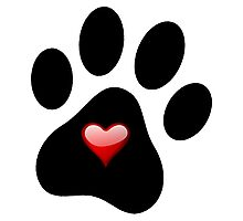 Dog Lover Paw Print with Heart Shirt Stickers Poster Pillows Cases Photographic Print
