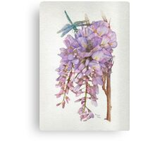 Wisteria Flower with Blue and Green Dragonfly Canvas Print