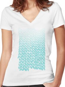 Hand Knit Ombre Teal Women's Fitted V-Neck T-Shirt