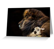 and the lion shall lie down with the lamb Greeting Card
