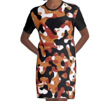 Orange Camouflage Graphic T-Shirt Dress