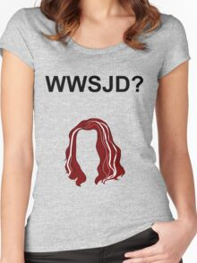 WWSJD? (Plain - Black) Women's Fitted Scoop T-Shirt