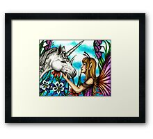 Fairy and Unicorn in Color Framed Print