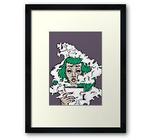 Burnout - Green haired lady covered in smoke  Framed Print