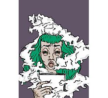 Burnout - Green haired lady covered in smoke  Photographic Print