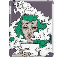 Burnout - Green haired lady covered in smoke  iPad Case/Skin