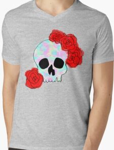 Pastel Skull with Roses Mens V-Neck T-Shirt
