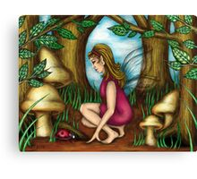 The Woodland Fairy with her Ladybug Canvas Print