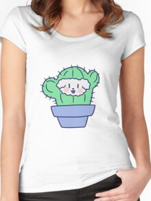 Fluffy Dog Face Cactus Women's Fitted Scoop T-Shirt