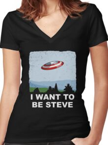 i want to be steve Women's Fitted V-Neck T-Shirt