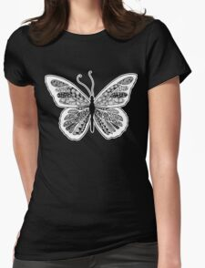 Tangled Butterfly Doodle Art Design Womens Fitted T-Shirt