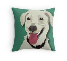 yellow lab with tennis ball Throw Pillow
