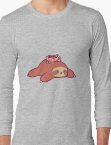 Tea Flower Sloth Long Sleeve T-Shirt