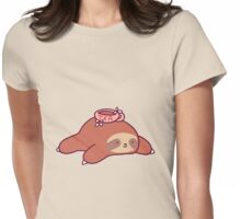 Tea Flower Sloth Womens Fitted T-Shirt