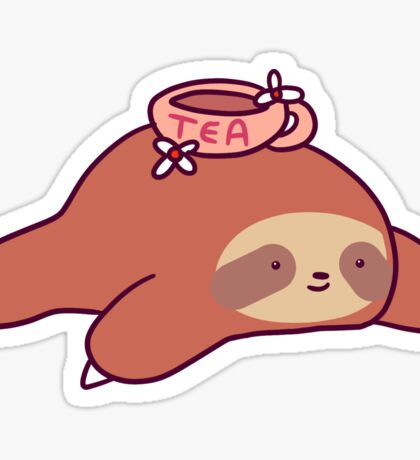 Tea Flower Sloth Sticker