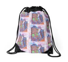 Earth takes over - Blue Drawstring Bag