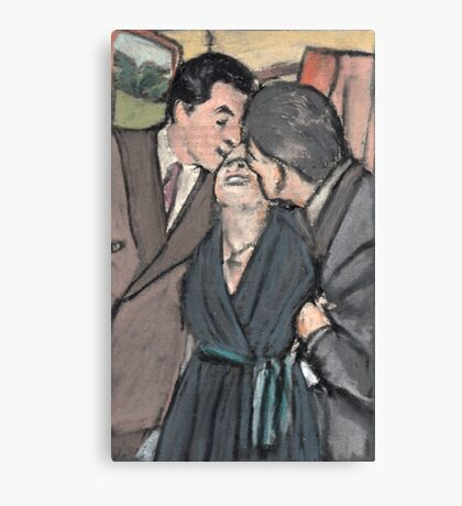Kiss between Edith Piaf and two man Canvas Print