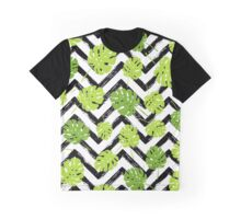 Summer tropical Monstera tree leaves pattern Graphic T-Shirt