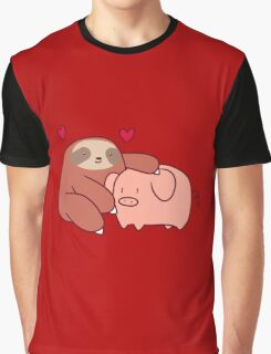 Sloth Loves Pig Graphic T-Shirt