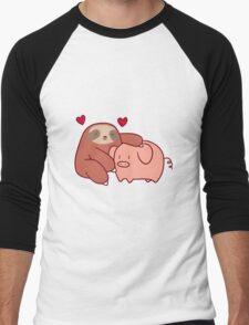 Sloth Loves Pig Men's Baseball ¾ T-Shirt