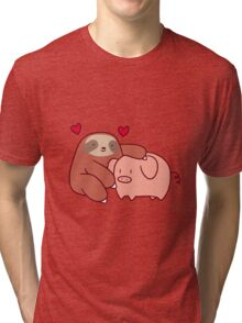 Sloth Loves Pig Tri-blend T-Shirt