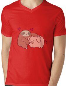 Sloth Loves Pig Mens V-Neck T-Shirt