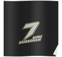 Kimi Raikkonen #7 (Formula One Race Number) Poster