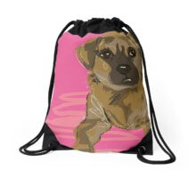 cute little mutt dog Drawstring Bag