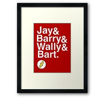 """Jay and Barry and Wally and Bart"" Flash T-shirt and more Framed Print"