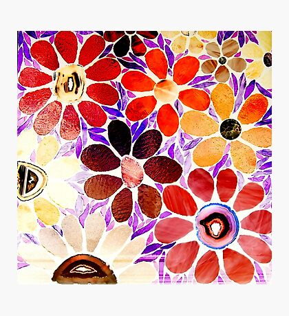 Garden of Red / Yellow Flowers - Mosaics Photographic Print
