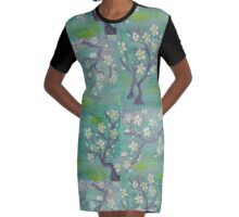 Blue Japanese Trees Graphic T-Shirt Dress