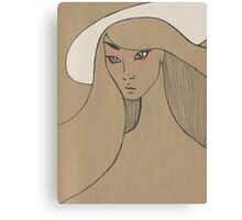 Beauty in white hat Canvas Print