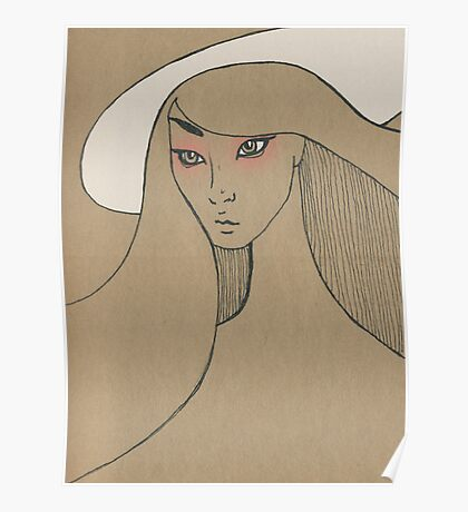 Beauty in white hat Poster