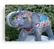 Elephant Statue Standing Guard Canvas Print