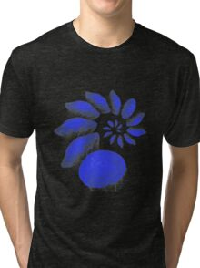 A large swirl of blue Jelly Fish Tri-blend T-Shirt