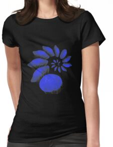 A large swirl of blue Jelly Fish Womens Fitted T-Shirt